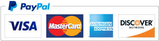 We accept PayPal, VISA, MasterCard, AMEX, and Discover Cards!